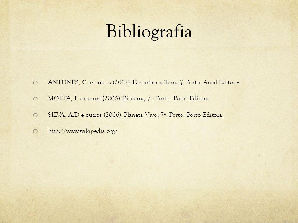 Bibliografia ANTUNES, C. e outros (2007). Descobrir a Terra 7. Porto. Areal Editores. MOTTA, L e outros (2006). Bioterra, 7º. Porto. Porto Editora.