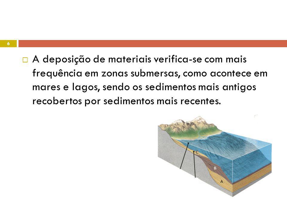 A deposição de materiais verifica-se com mais frequência em zonas submersas, como acontece em mares e lagos, sendo os sedimentos mais antigos recobertos por sedimentos mais recentes.