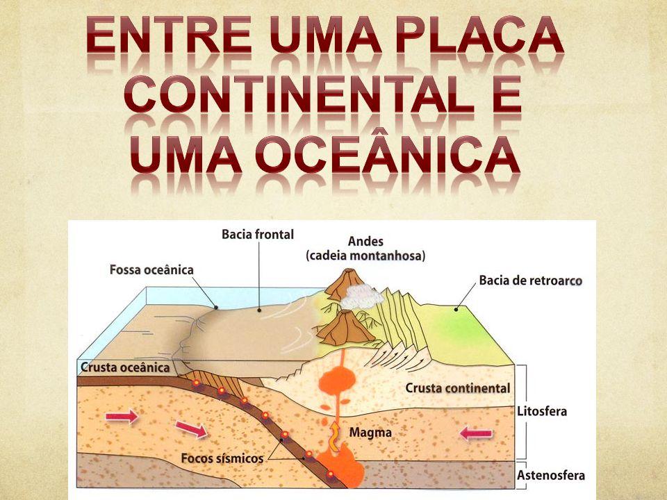 Entre uma Placa Continental e uma oceânica