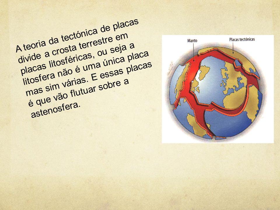 A teoria da tectónica de placas divide a crosta terrestre em placas litosféricas, ou seja a litosfera não é uma única placa mas sim várias.