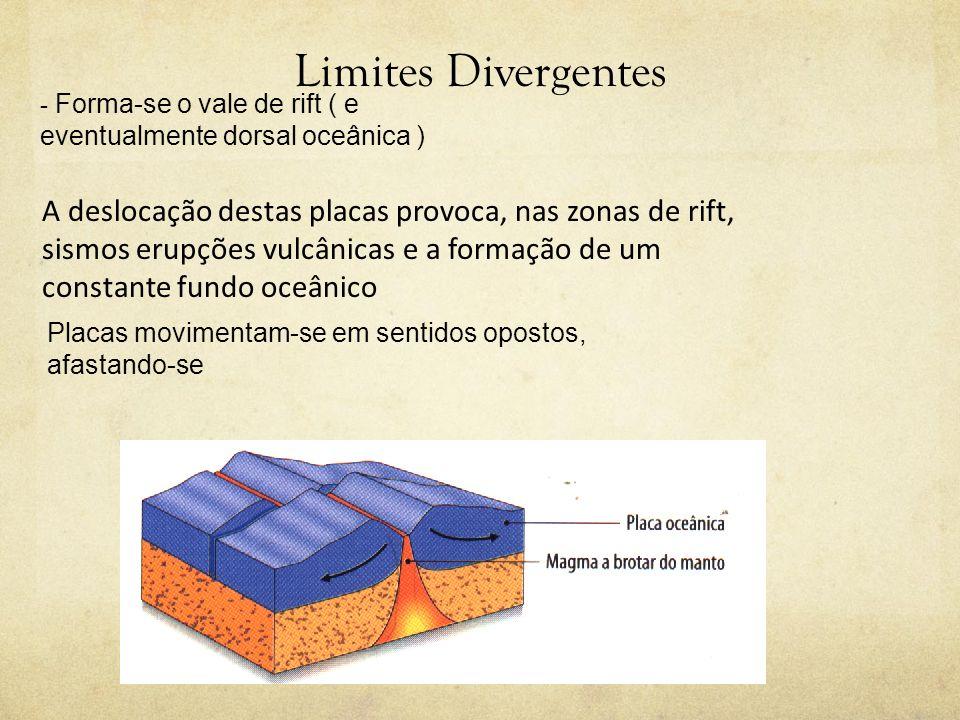 Limites Divergentes - Forma-se o vale de rift ( e eventualmente dorsal oceânica )