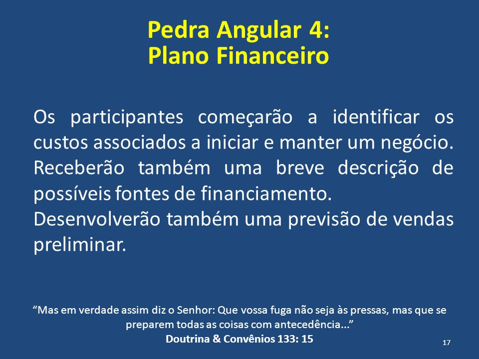 Pedra Angular 4: Plano Financeiro