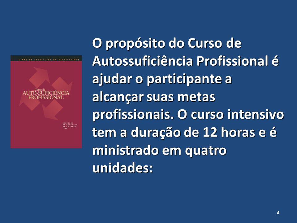 O propósito do Curso de Autossuficiência Profissional é ajudar o participante a alcançar suas metas profissionais.
