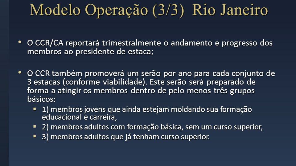 Modelo Operação (3/3) Rio Janeiro