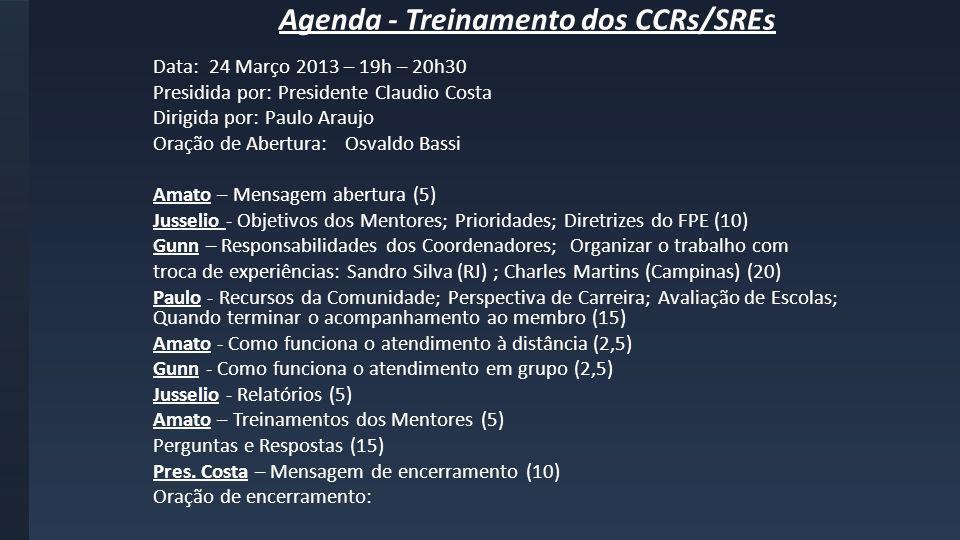 Agenda - Treinamento dos CCRs/SREs