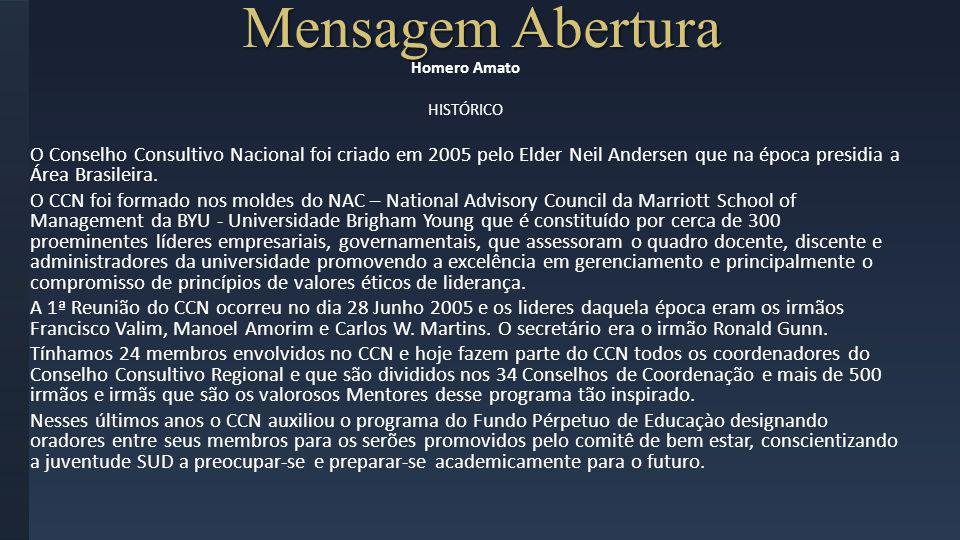 Mensagem AberturaHomero Amato. HISTÓRICO.