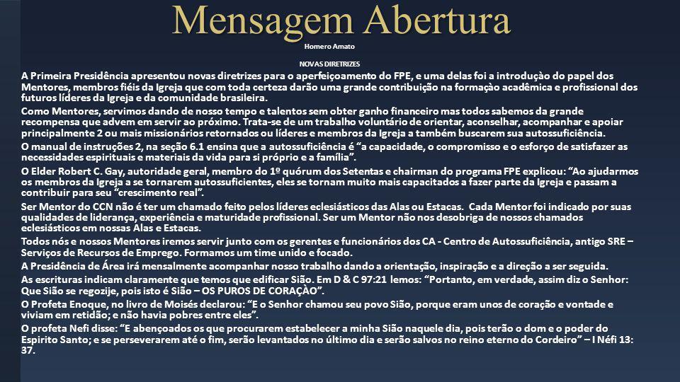 Mensagem AberturaHomero Amato. NOVAS DIRETRIZES.
