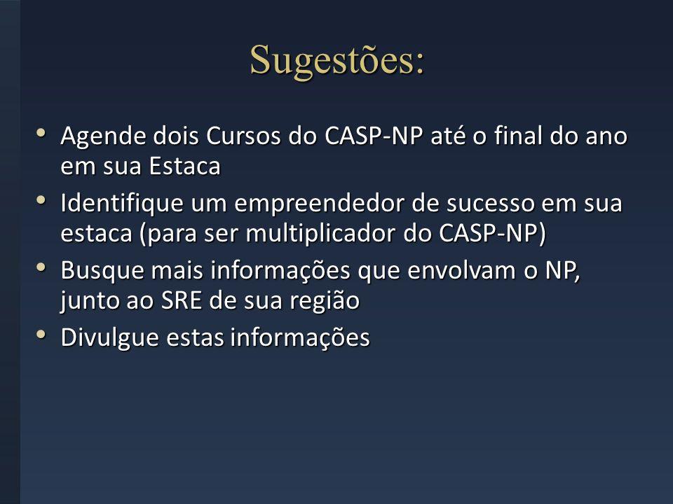 Sugestões: Agende dois Cursos do CASP-NP até o final do ano em sua Estaca.