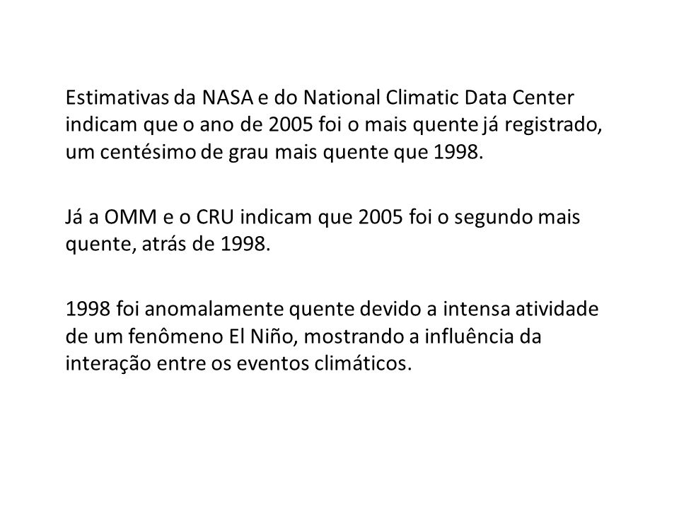 Estimativas da NASA e do National Climatic Data Center indicam que o ano de 2005 foi o mais quente já registrado, um centésimo de grau mais quente que 1998.