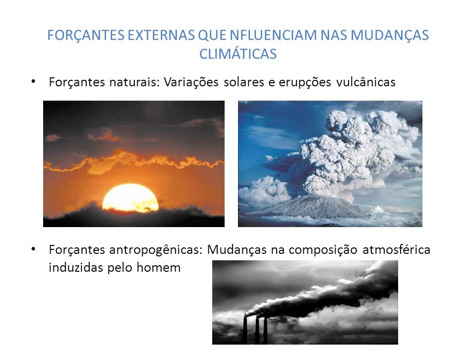 FORÇANTES EXTERNAS QUE NFLUENCIAM NAS MUDANÇAS CLIMÁTICAS