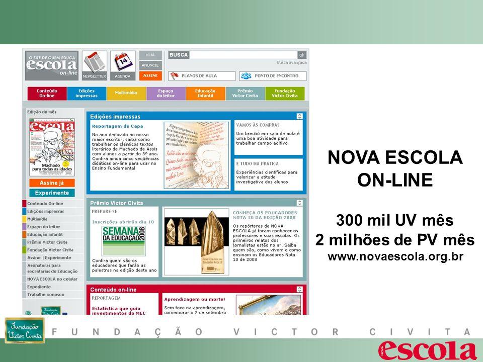 NOVA ESCOLA ON-LINE 300 mil UV mês 2 milhões de PV mês