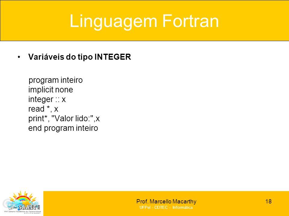 Linguagem Fortran Variáveis do tipo INTEGER