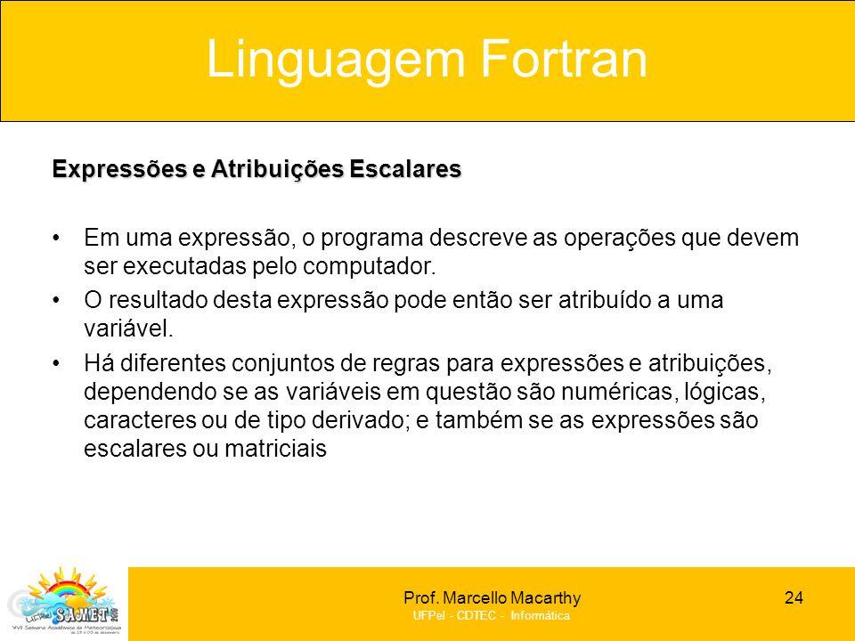 Linguagem Fortran Expressões e Atribuições Escalares