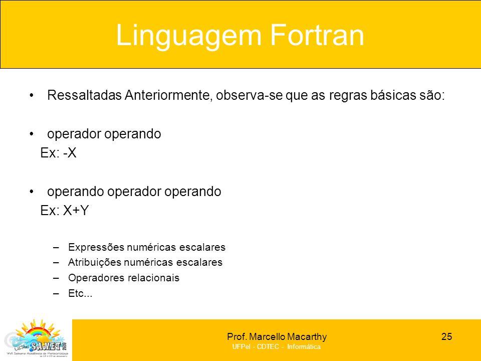 Linguagem Fortran Ressaltadas Anteriormente, observa-se que as regras básicas são: operador operando.