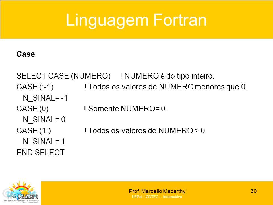Linguagem Fortran Case