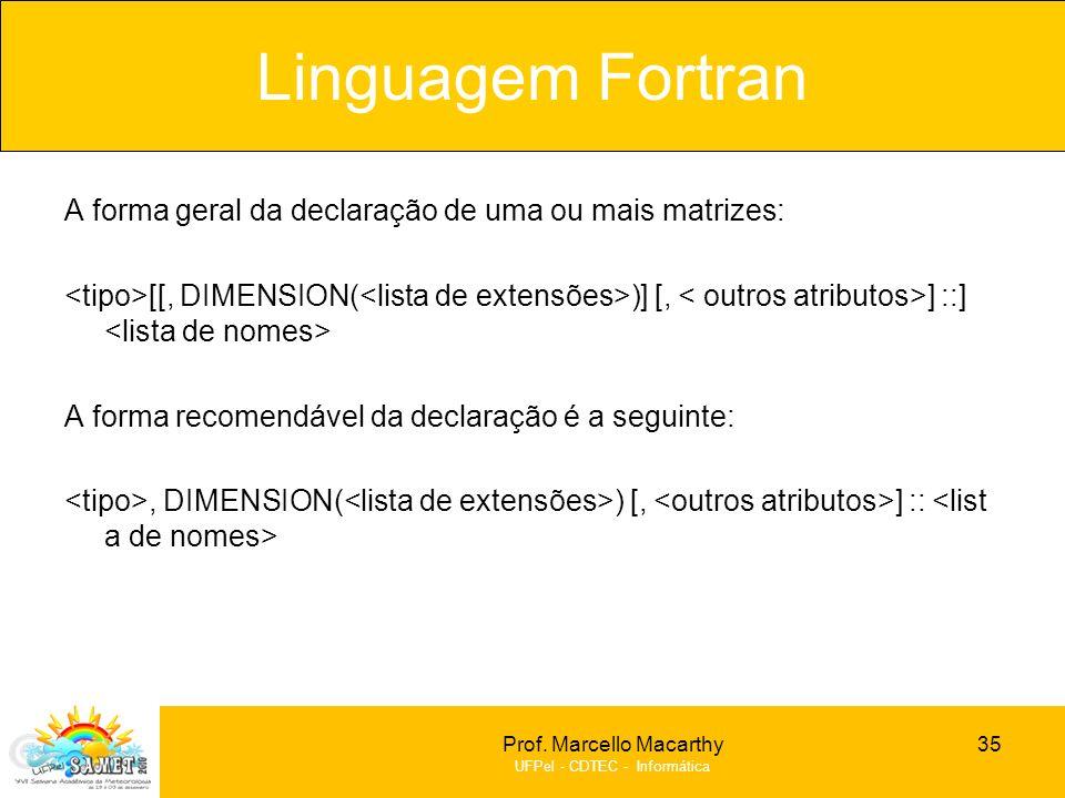 Linguagem Fortran A forma geral da declaração de uma ou mais matrizes: