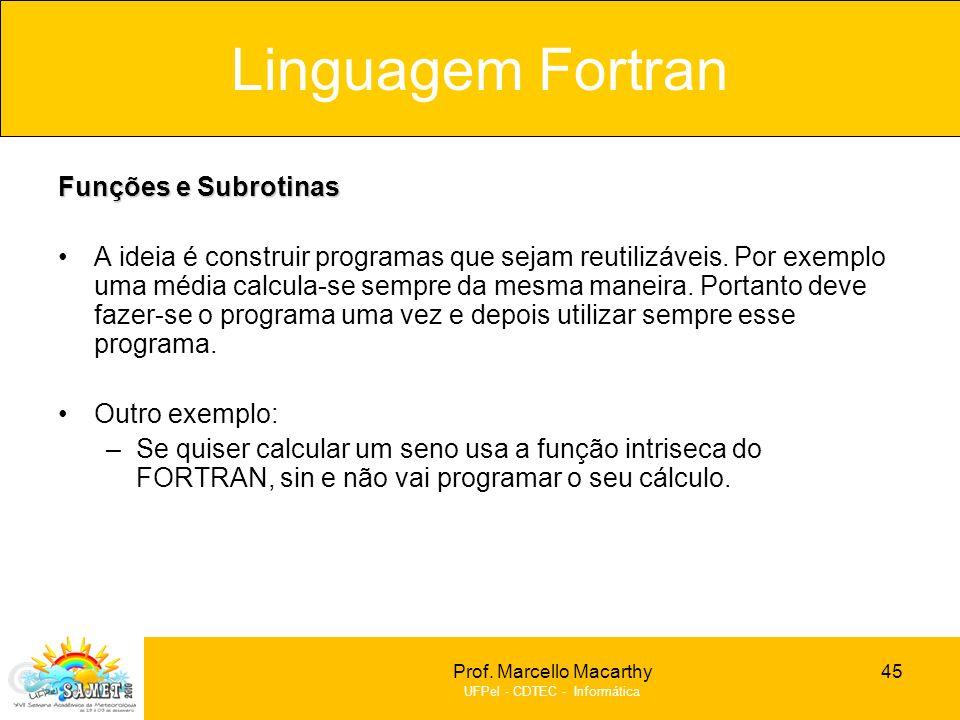 Linguagem Fortran Funções e Subrotinas