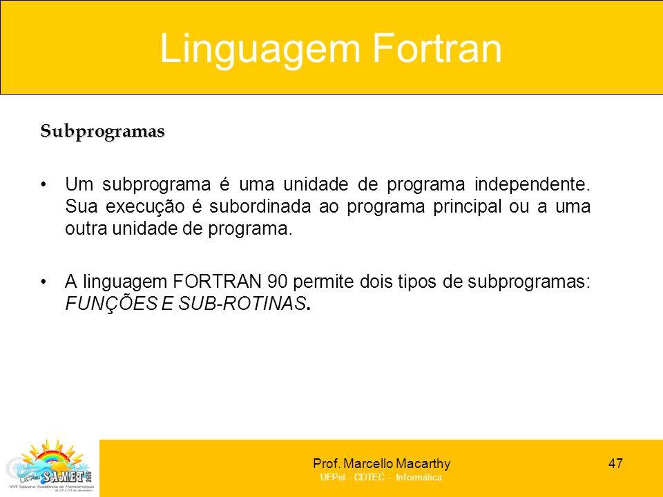 Linguagem Fortran Subprogramas