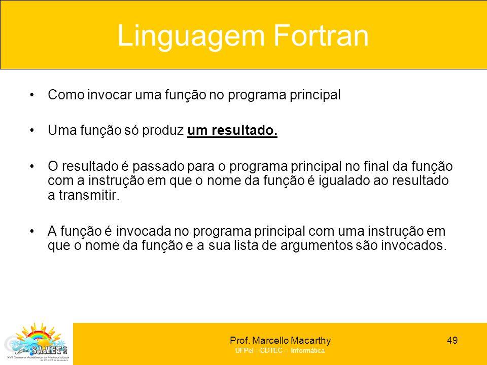 Linguagem Fortran Como invocar uma função no programa principal