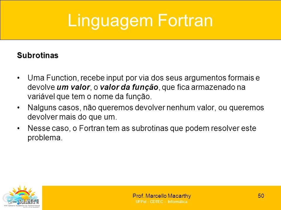 Linguagem Fortran Subrotinas