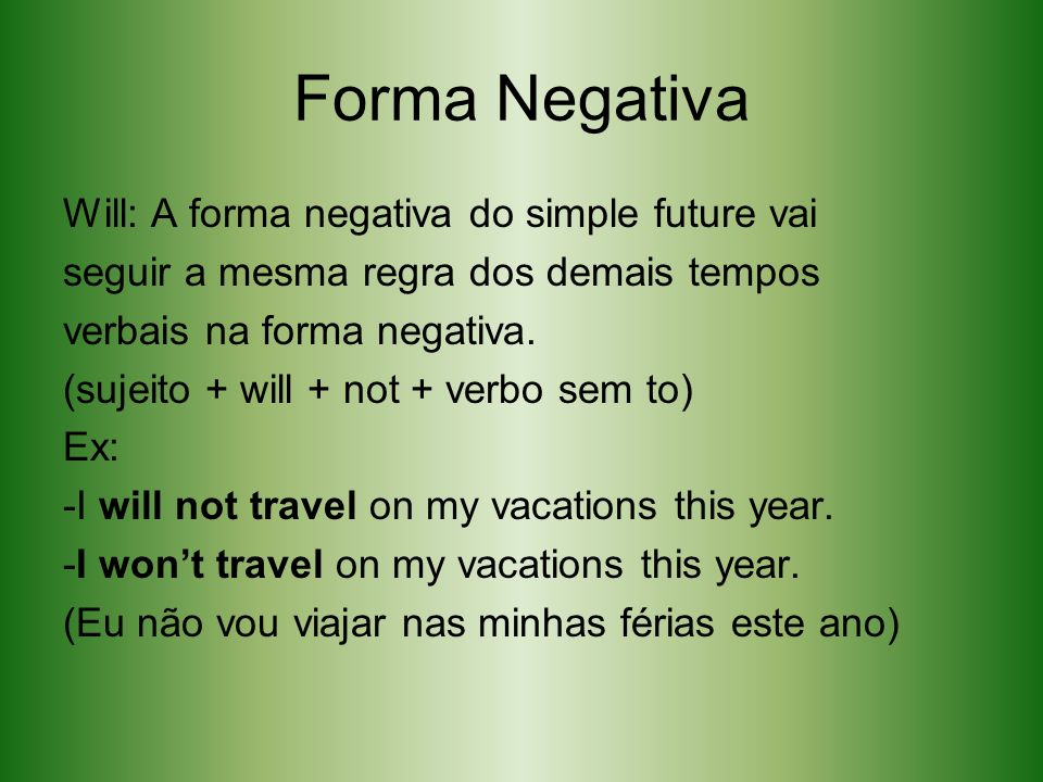 Forma Negativa Will: A forma negativa do simple future vai