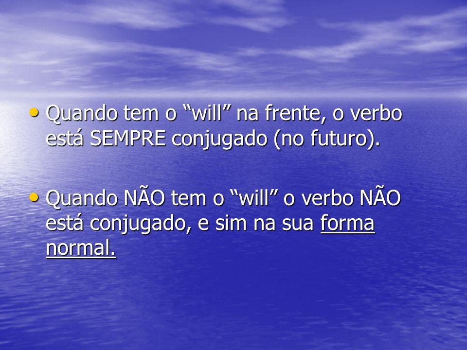Quando tem o will na frente, o verbo está SEMPRE conjugado (no futuro).
