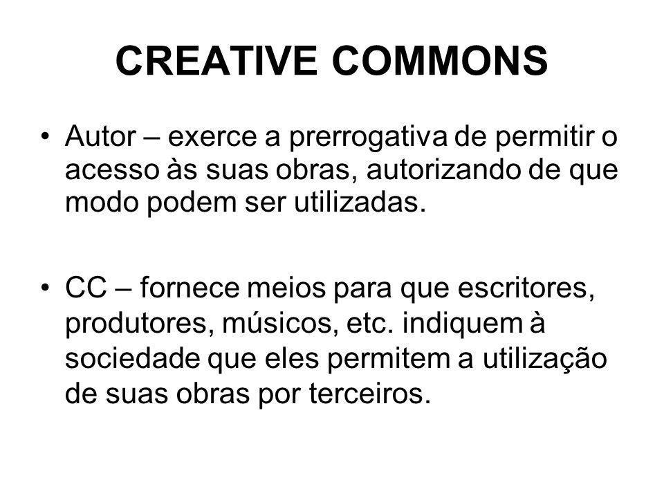 CREATIVE COMMONS Autor – exerce a prerrogativa de permitir o acesso às suas obras, autorizando de que modo podem ser utilizadas.