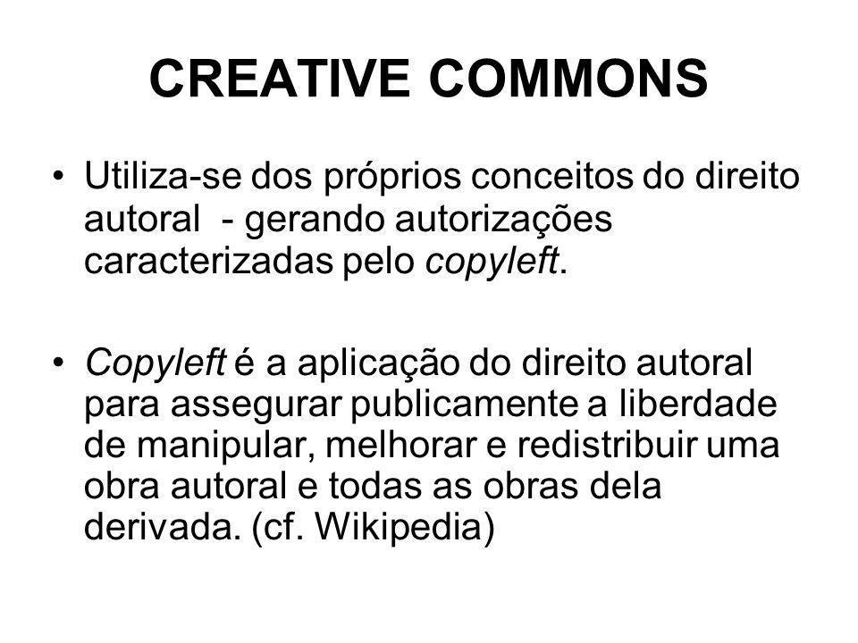 CREATIVE COMMONS Utiliza-se dos próprios conceitos do direito autoral - gerando autorizações caracterizadas pelo copyleft.