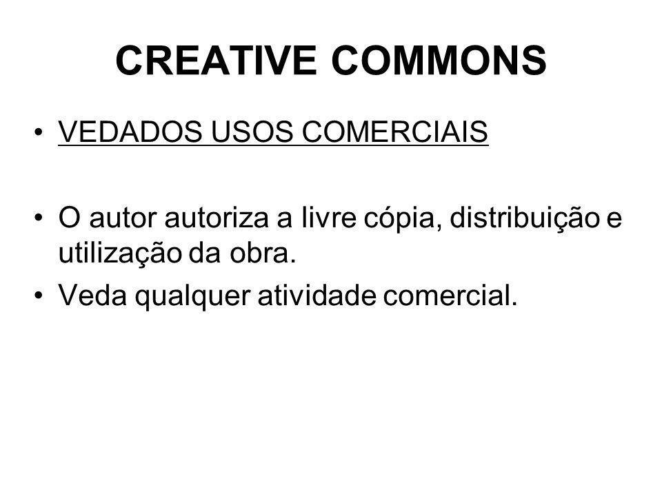 CREATIVE COMMONS VEDADOS USOS COMERCIAIS