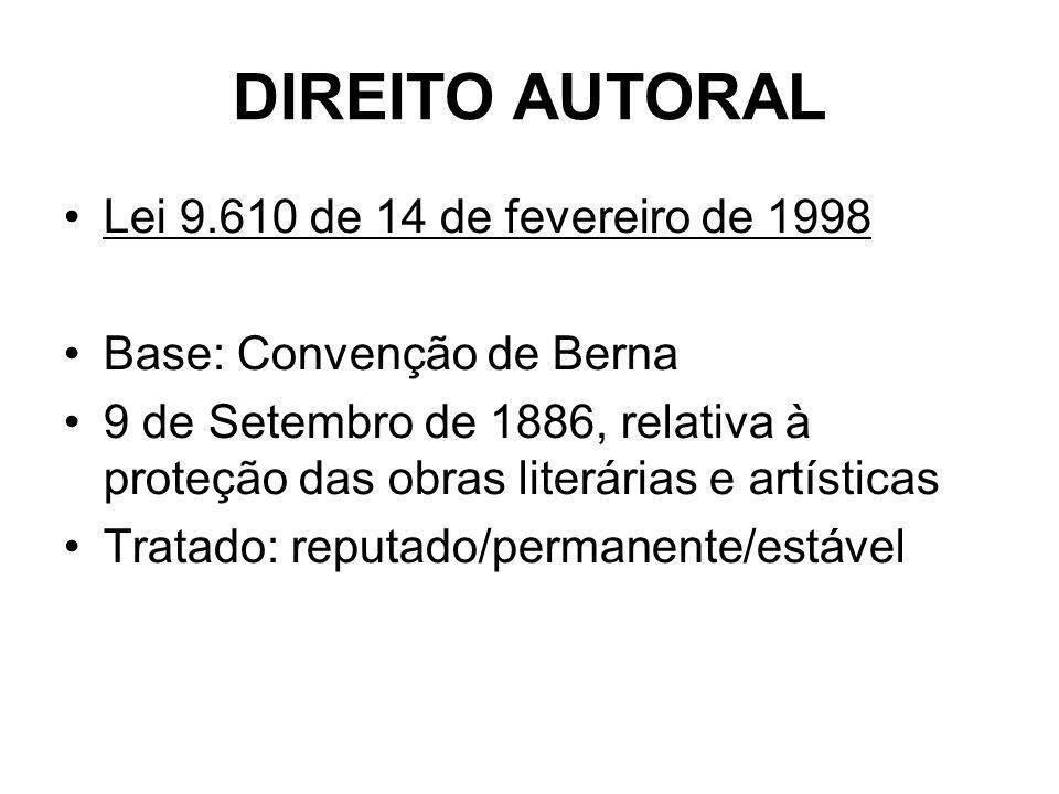 DIREITO AUTORAL Lei 9.610 de 14 de fevereiro de 1998