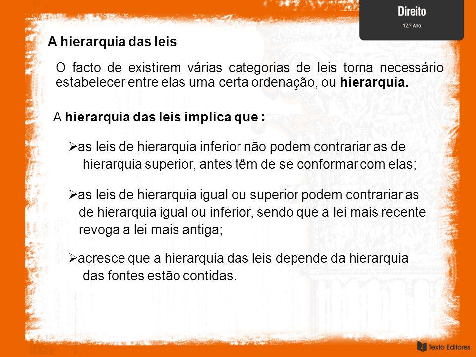 A hierarquia das leisO facto de existirem várias categorias de leis torna necessário estabelecer entre elas uma certa ordenação, ou hierarquia.