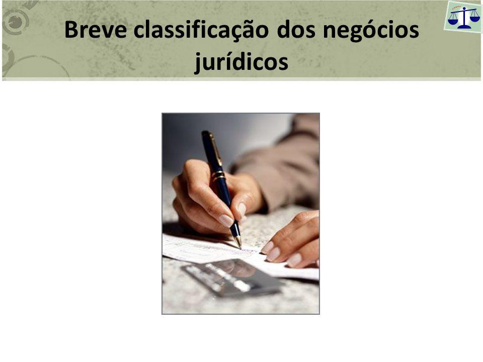 Breve classificação dos negócios jurídicos