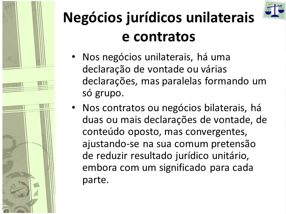Negócios jurídicos unilaterais e contratos