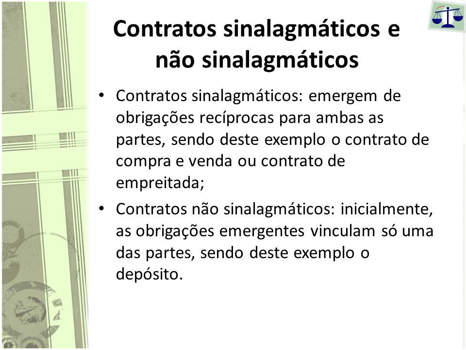 Contratos sinalagmáticos e não sinalagmáticos
