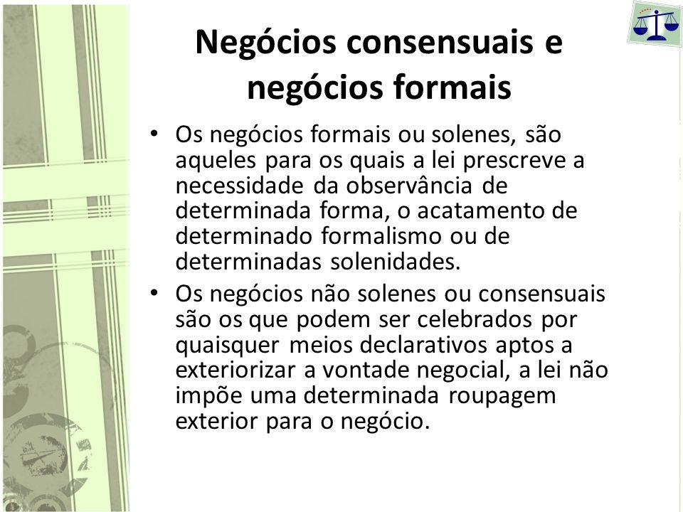 Negócios consensuais e negócios formais