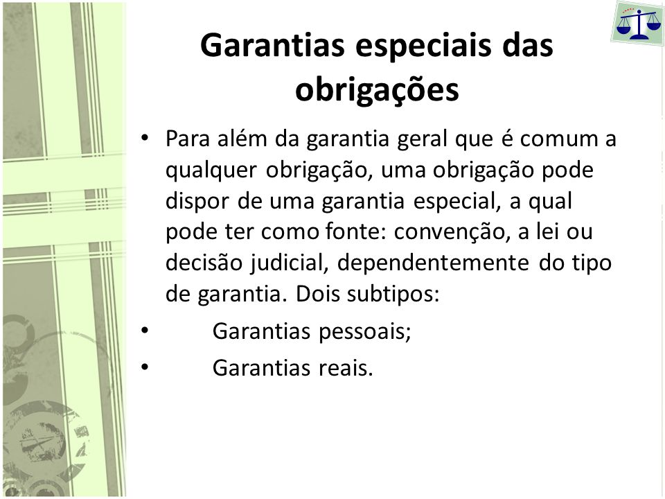 Garantias especiais das obrigações