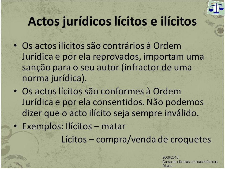 Actos jurídicos lícitos e ilícitos