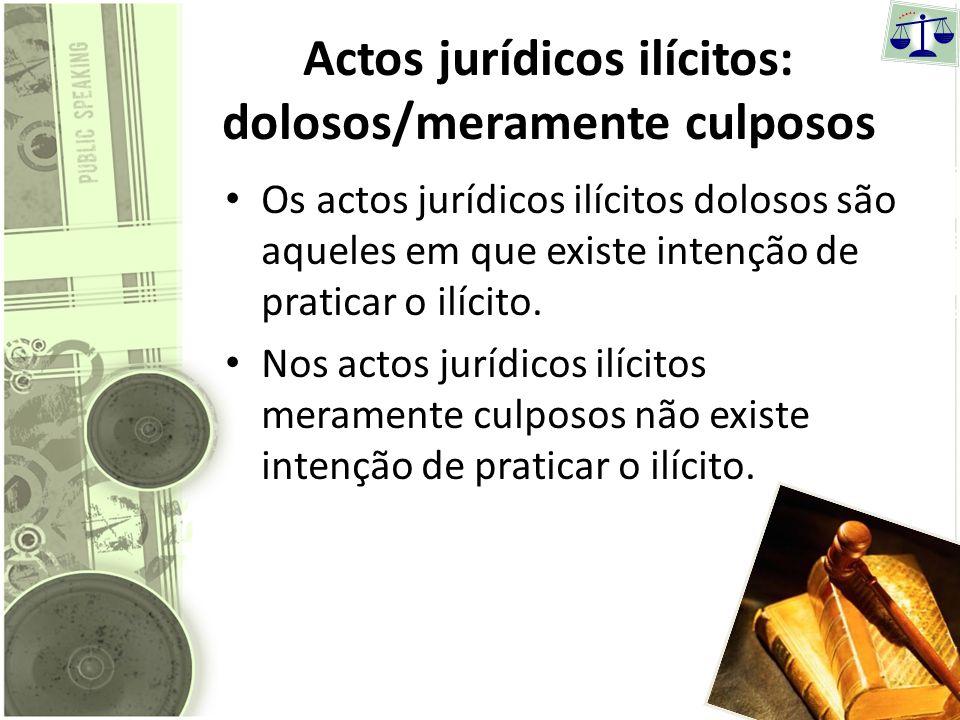 Actos jurídicos ilícitos: dolosos/meramente culposos