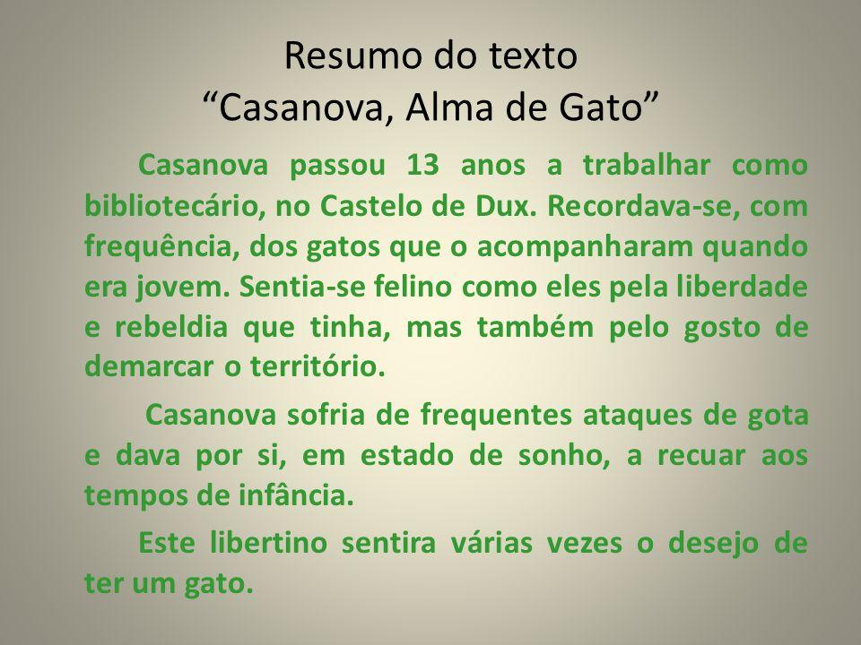Resumo do texto Casanova, Alma de Gato