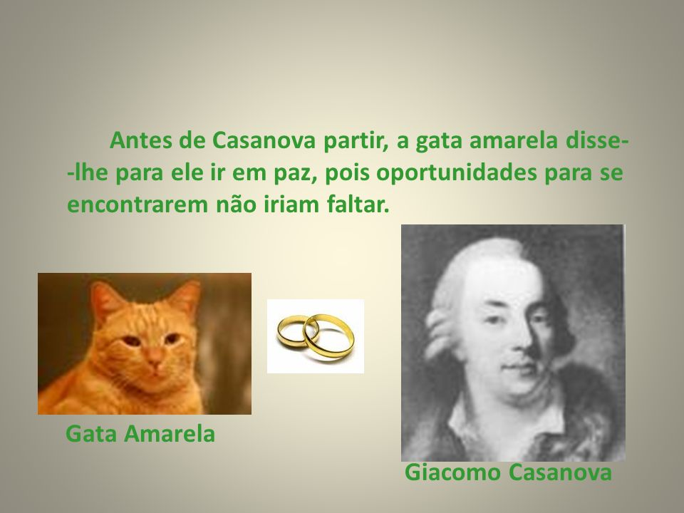 Antes de Casanova partir, a gata amarela disse- -lhe para ele ir em paz, pois oportunidades para se encontrarem não iriam faltar.