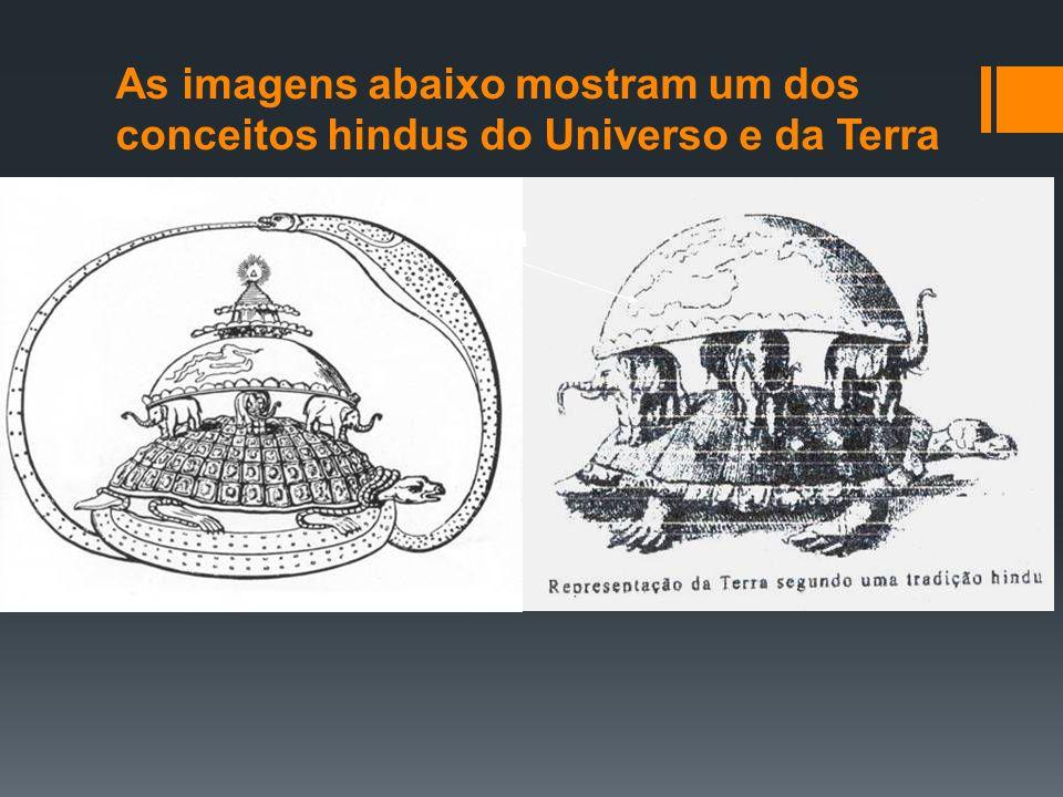 As imagens abaixo mostram um dos conceitos hindus do Universo e da Terra