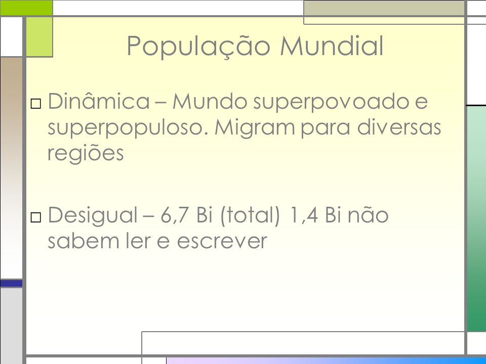 População Mundial Dinâmica – Mundo superpovoado e superpopuloso. Migram para diversas regiões.