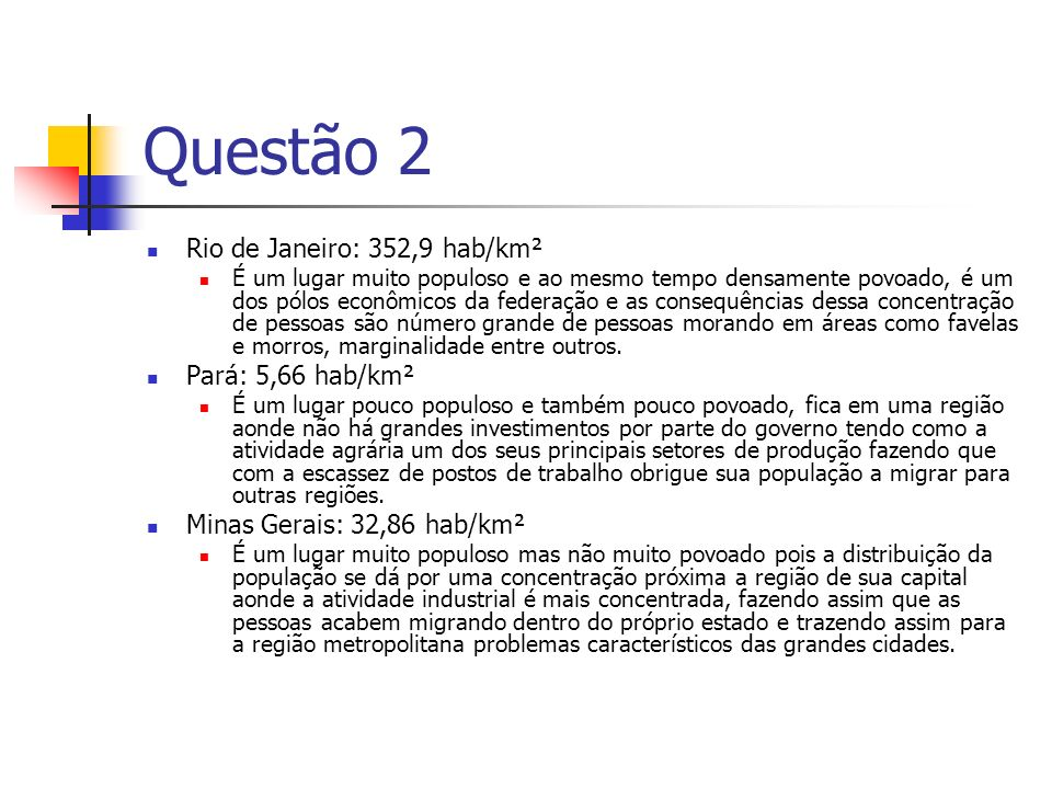 Questão 2 Rio de Janeiro: 352,9 hab/km² Pará: 5,66 hab/km²