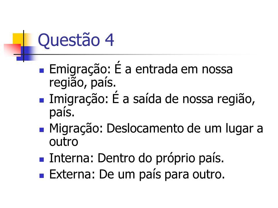 Questão 4 Emigração: É a entrada em nossa região, país.
