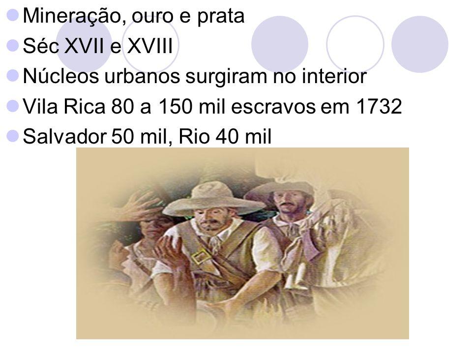 Mineração, ouro e prata Séc XVII e XVIII. Núcleos urbanos surgiram no interior. Vila Rica 80 a 150 mil escravos em 1732.