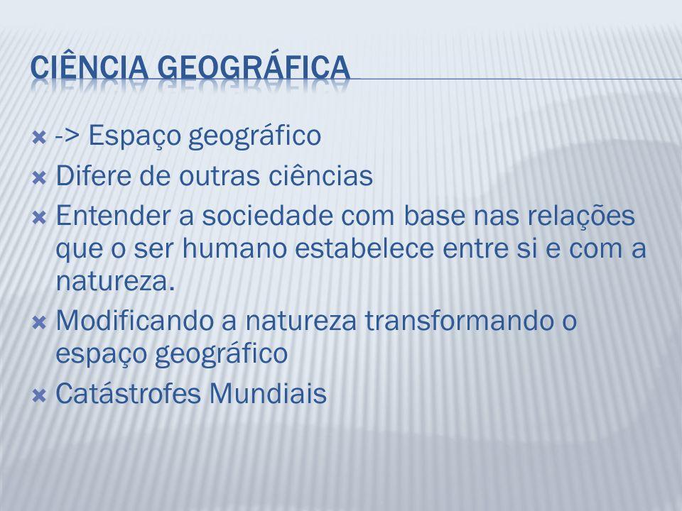 Ciência Geográfica -> Espaço geográfico Difere de outras ciências