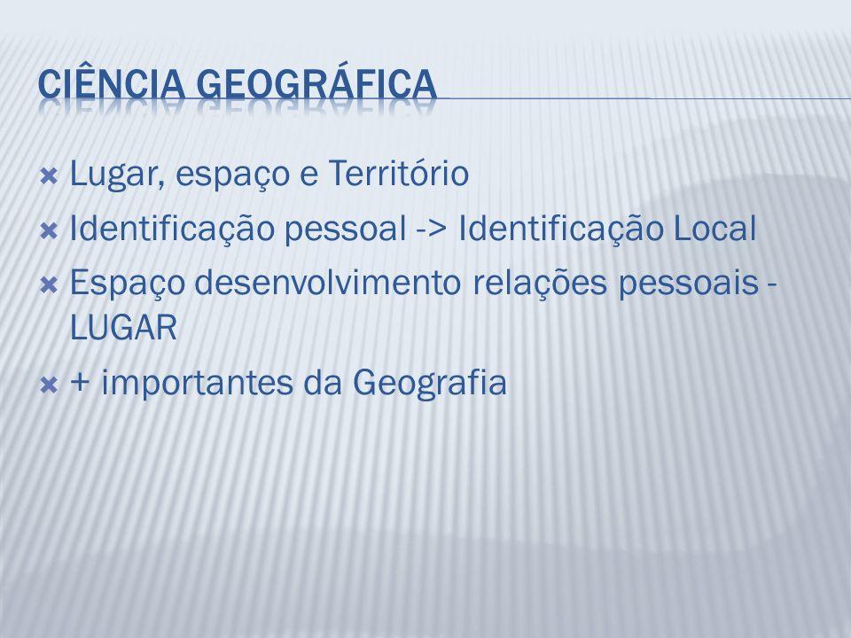 Ciência Geográfica Lugar, espaço e Território