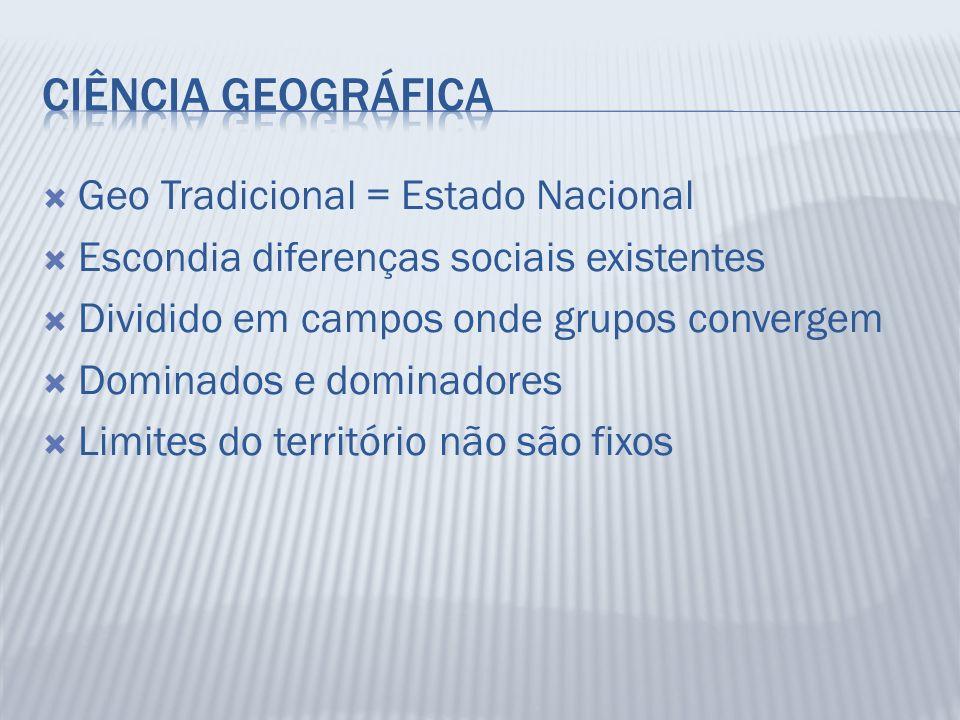 Ciência Geográfica Geo Tradicional = Estado Nacional