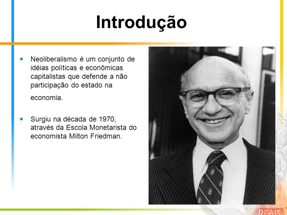 Introdução Neoliberalismo é um conjunto de idéias políticas e econômicas capitalistas que defende a não participação do estado na economia.