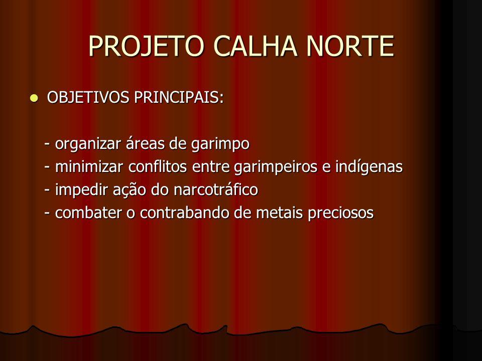 PROJETO CALHA NORTE OBJETIVOS PRINCIPAIS: - organizar áreas de garimpo